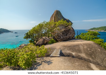 The famous Sail Rock Overlook, Kor 8 of Similan Islands National Park, Phang Nga, Thailand, one of the tourist attraction of the Andaman Sea. - stock photo