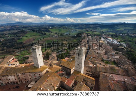The Famous San Gimignano medieval town in Tuscany, Italy - stock photo