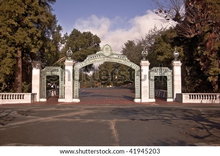 The famous Sather Gate at the University of California at Berkeley - California's senior public university - stock photo