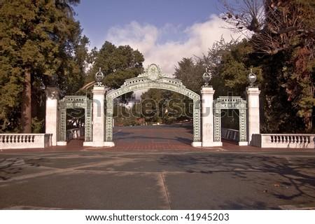 The famous Sather Gate at the University of California at Berkeley - California's senior public university - stock photo