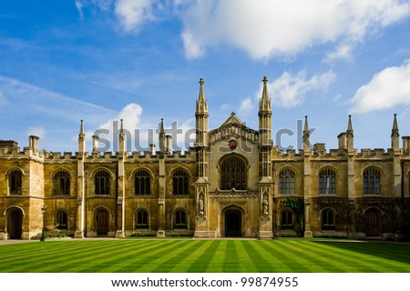 the famous scene that can be found in Cambridge University - stock photo