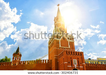 The famous Spasskaya tower of Moscow Kremlin, Russia - stock photo