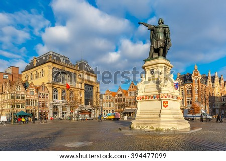 The famous square Friday Market with Jacob van Artevelde statue in the sunny morning, Ghent, Belgium - stock photo