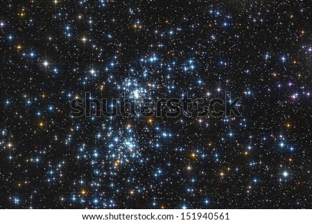 the famous stars double cluster in the constellation of perseus. - stock photo