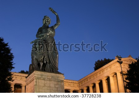 "The famous statue ""Bavaria"" in Munich in Germany"
