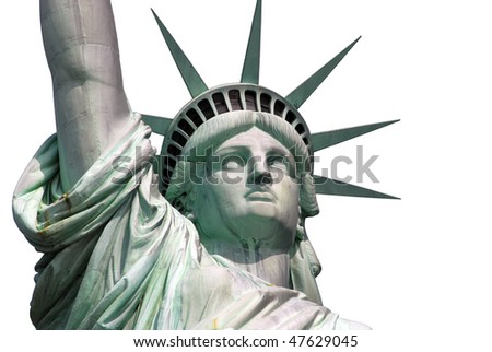 The famous Statue of Liberty on an island in New York City on the white background