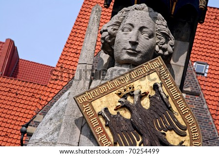 The famous Statue of Roland, Bremen, Germany - stock photo