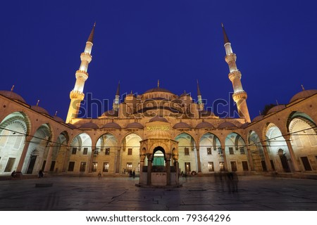 The famous Sultan Ahmed Mosque (Blue Mosque) in Istanbul, Turkey - stock photo