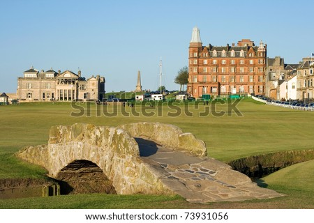 The famous Swilcan bridge on the 18th hole of the Old Course links in St Andrews, Scotland. - stock photo