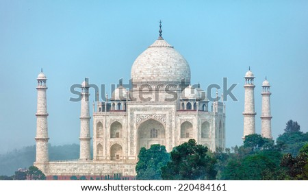 The famous Taj Mahal from an unusual angle. Agra, India - stock photo