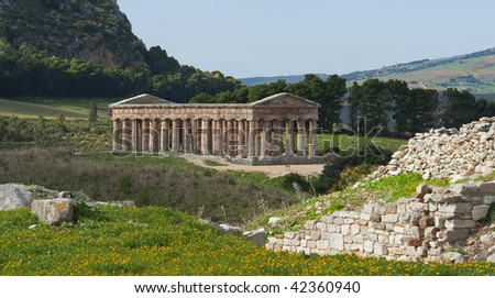 "The famous temple of ""Segesta"" in Sicily"