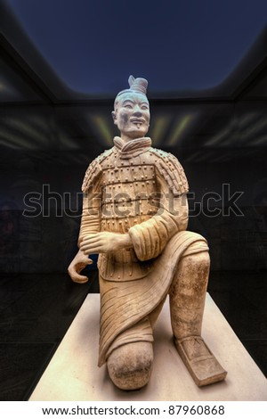 The famous terracotta warriors of XiAn, China - The Archer - stock photo