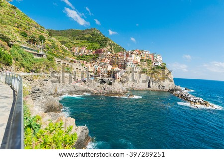 The famous tourist destination towns the colorful vivid painted buildings town built on seaside rocks Cinque Terre, Italy