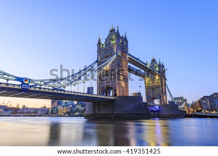 The famous Tower Bridge at London, United Kingdom