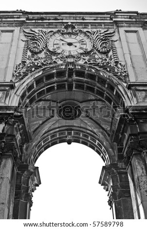 The famous Triumph Arch of Augusta Street in Lisbon, Portugal, next to Commerce Square - stock photo