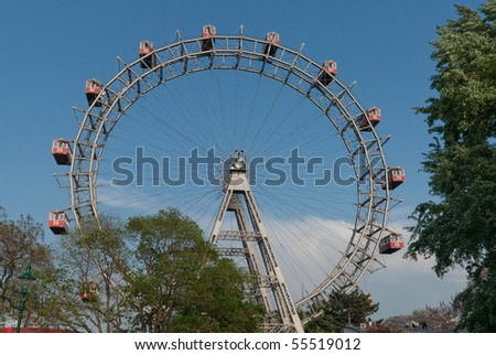 the famous viennese giant wheel located in the prater in the second district of vienna - stock photo