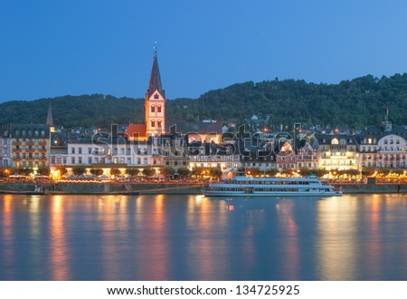 the famous Village of Boppard at Rhine River in middle Rhine Valley,Germany - stock photo