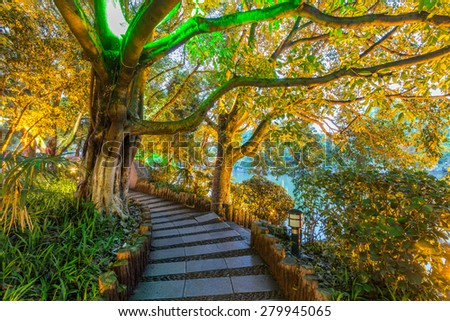 The famous walking path around Two Rivers and Four Lakes in night in Guilin, Guangxi Province, China - stock photo