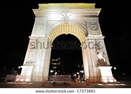 The famous Washington Square Arch, commemorating George Washington, in New York City. - stock photo