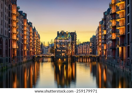 The famous Wasserschloss in the Speicherstadt in Hamburg, Germany - stock photo
