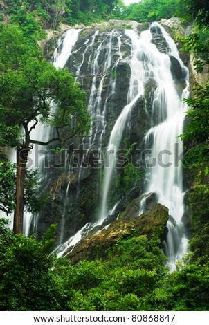 The famous waterfall in Kamphaeng Phet province - stock photo