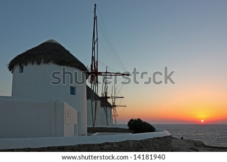 The famous windmills of Mykonos island (Greece) at sunset