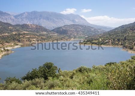 The Faneromenis reservoir in the south-central of Crete. The Techniti Limni Faneromenis named in greek, is located in the southern foothills of the Ida mountain massif. Important water supply on Crete - stock photo