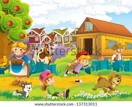 The farm illustration for kids - many different elements - stock photo