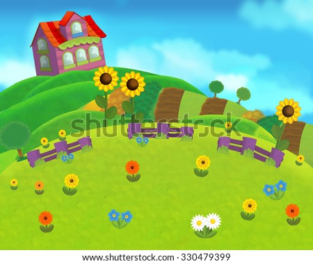 The farm scene for kids - cartoon background - illustration for the children - stock photo