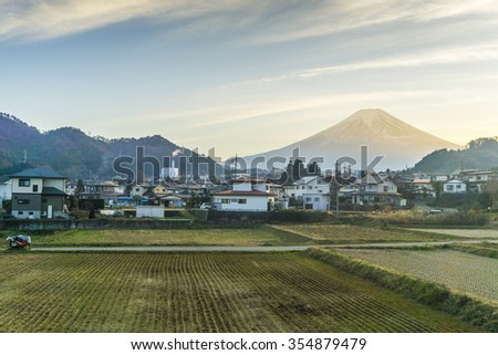 The farmer village with Mt. Fuji at sunset, Urban view, Japan - stock photo