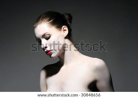 the fashion portrait of beauty black lady - stock photo