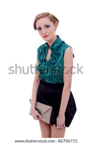 The fashion woman looking at camera. Isolated on white background - stock photo