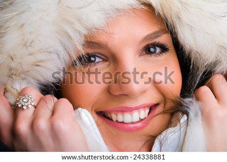 The fashionable girl in a beautiful jacket - stock photo