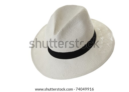 The fashionable Panama hat with white background. - stock photo
