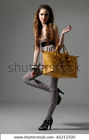 The fashionable young woman holding bag - stock photo