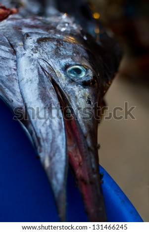The fastest fish on the planet for sale at a Thai fish market. - stock photo