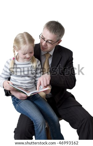the father and daughter read book