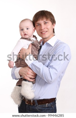 The father and the son on a white background, a vertical format