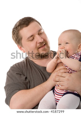 the father with son on white background