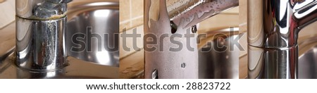 The faucet on a sink from stainless steel against a beige tile - stock photo