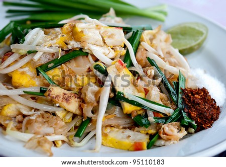 The Favorite stir fried noodle thai style is name Pad Thai - stock photo