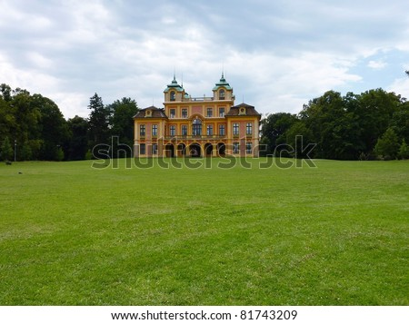 The favorite summer palace in a spacious parkland  in Ludwigsburg in the Black Forest in Germany - stock photo