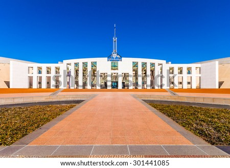 The federal parliament house in Canberra, Australia - stock photo