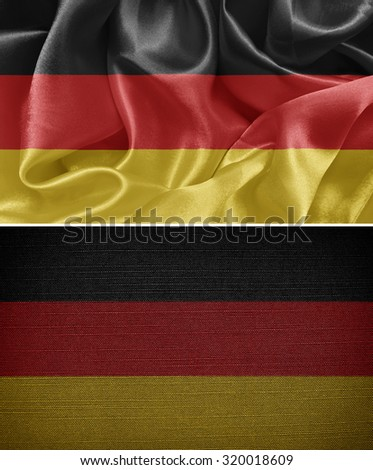 The Federal Republic of Germany, set cloth flags in the background - stock photo