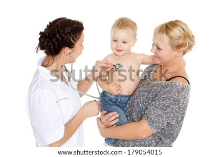 The female doctor with a stethoscope and  young mother with little son stand on a white background. Healthcare. - stock photo