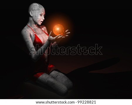 The female figure with a mystical ball in his hands.