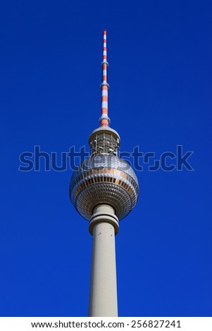 The Fernsehturm television and radio broadcasting tower erected by the former German Democratic Republic (DDR) in Alexanderplatz, Berlin, Germany. - stock photo