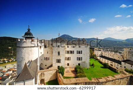 The Festung Hohensalzburg, Salzburg city's medieval fortress - stock photo