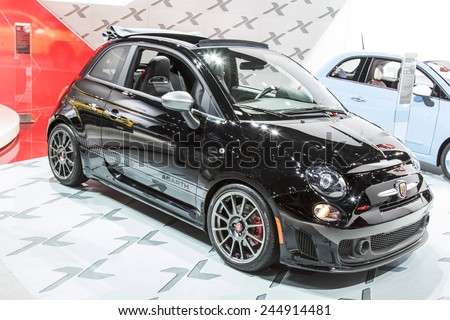 The 2015 FIAT 500 at The North American International Auto Show January 13, 2015 in Detroit, Michigan. - stock photo