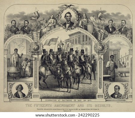 The Fifteenth Amendment banning voting discrimination was celebrated in this 1870 print. Central panel shows African American men, in a procession in Baltimore parade. - stock photo
